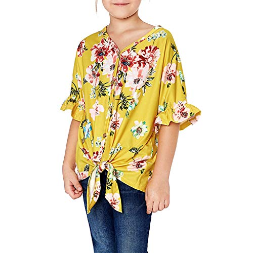 WOCACHI Summer Children Teens Kids Girls Floral Printed T-Shirt Tops Clothes Back to School Father's Day Children's Day July 4th Pregnant Woman Mini Boss -