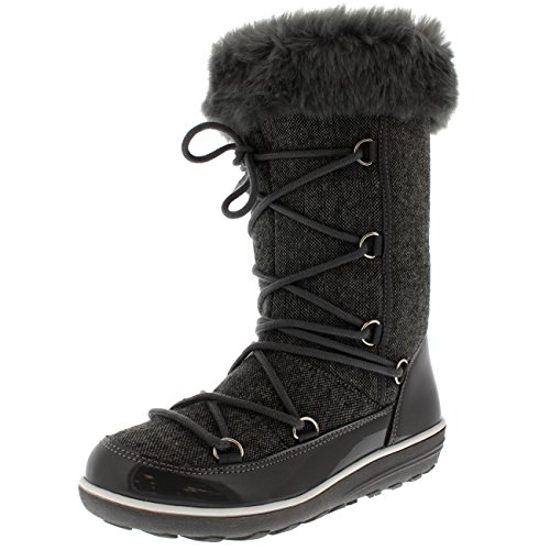 Polar Products Womens Rain Thermal Warm Snow Winter Knee High Waterproof Boots - Gray - US8/EU39 - YC0479 (Rain Snow Winter Boots)