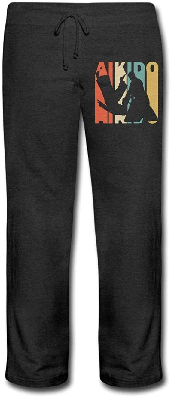 100/% Cotton Retro Style Aikido Silhouette Running Pants Men Fit Sweatpant