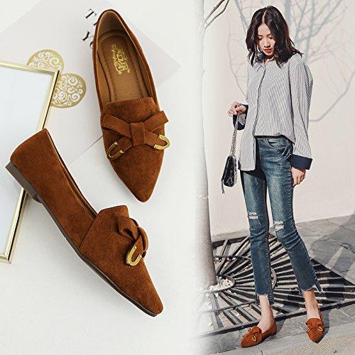 Xue Qiqi Tipp Flache Schuhe mit Schleife im Licht der Flachbild mit Einzelnen Schuhe Frauen trat Feilbieten von Freizeit Schuhe Frauen Schuhe