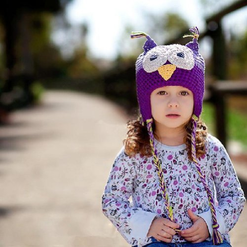 Amasale Baby Girl Boy Crochet Hat Knit Handmade Cap (Purple)