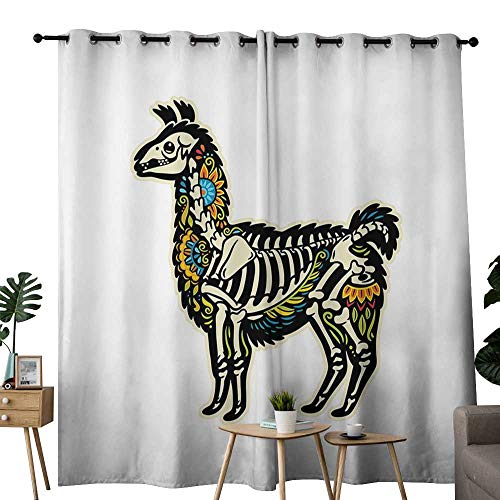 LewisColeridge Curtains Llama,Sugar Skull Style Alpaca Animal Skeleton and Colorful Floral Details Day of The Dead,Multicolor,Thermal Insulated Panels Home Décor Window Draperies for Bedroom 54