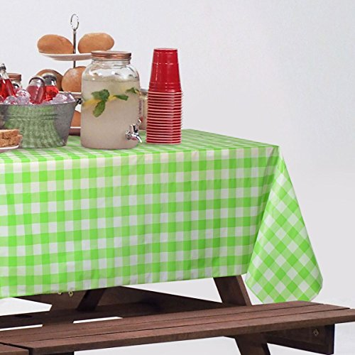 "Clearly Elegant Disposable Plastic Picnic Tablecloth Roll, Gingham Checkerboard Design 100 ft. long by 52"" wide"