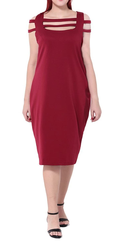 Bigood Occident Ladies Plus Size Tight Bandage Bodycon Dress Skirt Red
