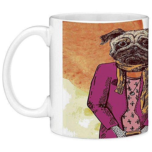 Lead Free Ceramic Coffee Mug Tea Cup White Pug 11 Ounces Funny Coffee Mug Fashion Icon Dog with Cool Clothes Scarf Necklace Jacket Handbag Tainted Background Hot Pink Amber - Godmother Jacket