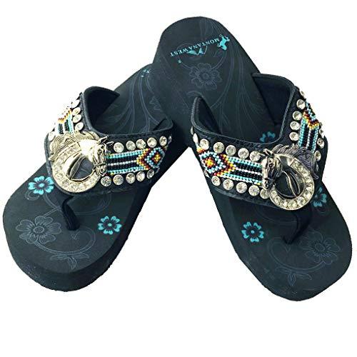Montana West Women's Hand Beaded Flip Flop Sandals (9B(M), TurqHorseshoeBling) ()