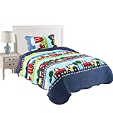 MarCielo 2 Piece Kids Bedspread Quilts Set Throw Blanket for Teens Boys Bed Printed Bedding Coverlet, Twin Size, Trucks Dark Blue (Twin)