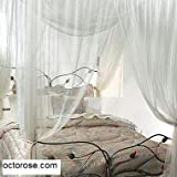 White 4 Corner / Poster Bed Canopy Mosquito Net Full Queen King, White by FineHome