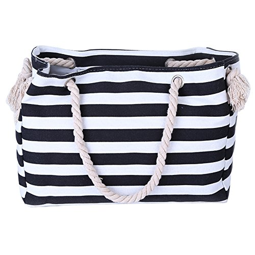 (THEE Beach Bag with Inner Zipper Pocket Tote with Rope Handles)