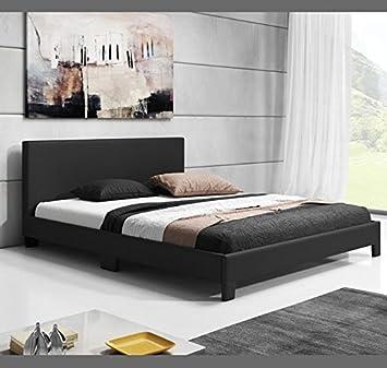muebles bonitos cama de matrimonio luna en color negro 140x190cm