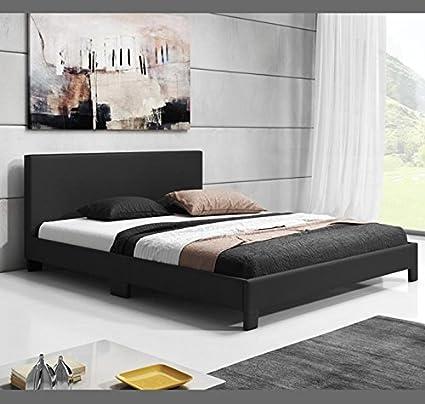 Muebles Bonitos - Cama de matrimonio Luna (150x190cm) negro: Amazon ...