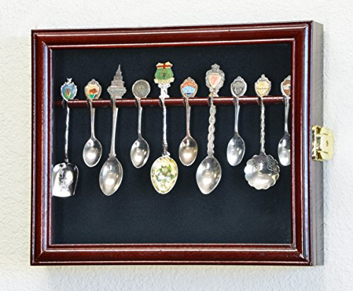 10 Spoon Display Case Cabinet Wall Mount Rack Holder w/98% UV Protection Lockable, Cherry