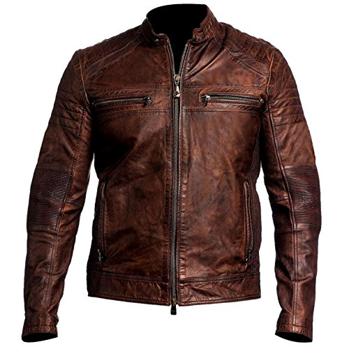 Hollywood Jacket Cafe Racer Vintage Brown Biker Leather Jacket (XL, Distressed Brown) (Leather Brown Cafe)
