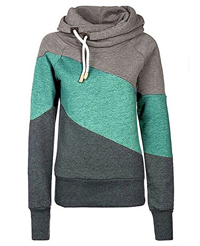 Creepypasta Costumes For Girls (frose Women Funnel Cowl Neck Hooded Pullover Color Block Long Sleeve Sweatshirt)
