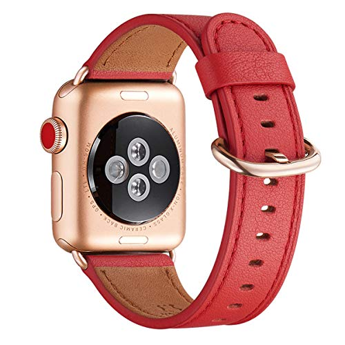 WFEAGL Compatible iWatch Band 40mm 38mm, Top Grain Leather Band with Gold Adapter (The Same as Series 4/3 with Gold Aluminum Case in Color) for iWatch Series 4/3/2/1(Red Band+Rosegold Adapter)