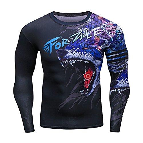Men's 3D Novelty Lycra Compression Shirt Skin Tight Shirt Vest Short/Long Sleeve Shirt