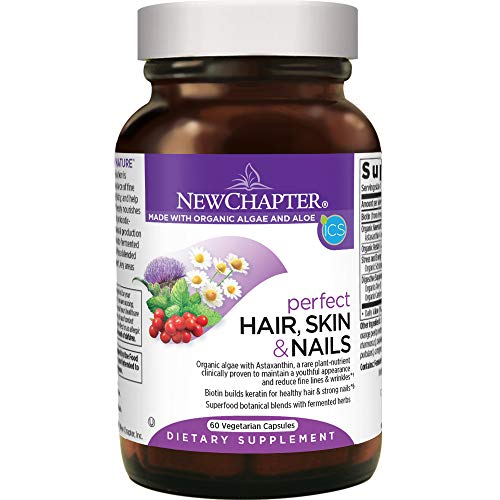 New Chapter Hair Skin & Nails Vitamins with Fermented Biotin + Astaxanthin – Vegetarian Capsule (Packaging May Vary), 60…