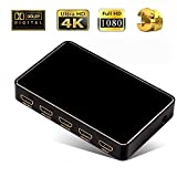CLCCON HDMI 2.0 1x4 Splitter with USB Charge 1 In 4 Out 4k x 2k@60Hz with 12bit Y CBCR 4:2:0 for Pojector HDTV Office PS3 Somatic Game Dolby DVD Dull Polish Black