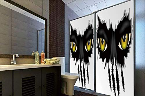 No Glue Static Cling Glass Sticker,Eye,Evil Eyes of Wild Black Cat Staring Face Werewolf Animal Monster Scratch Danger Decorative,Yellow Black Grey,39.37