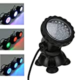 KINGCOO Underwater Spot Light, Super Bright 36 LED Color Changing Submersible Lamp Waterproof Underwater Light for Garden Fountain Aquarium Fish Pond Pool Tank (Single)