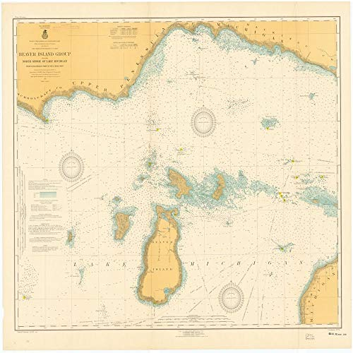 Vintography Professionally Reprinted 8 x 12 Image of 1917 Nautical Chart Beaver Island Group Including North Shore of Lake Michigan from WAUGOSHANCE Point to SEUL CHOIX Point by Lake Survey MI