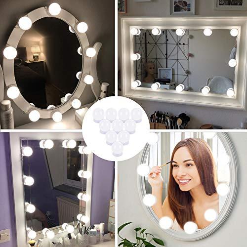 Sylvwin Lampe Miroir Maquillage,Lampe pour Miroir Cosmetique Hollywood avec 3 Modes de Couleur et 10 Ampoules Lumieres de Dimmable pour Miroir de Maquillage et Coiffeuse