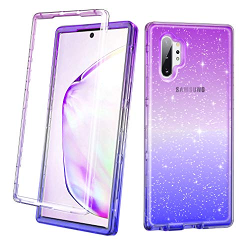 Lamcase for Galaxy Note 10 Plus Case Crystal Clear Dual Layer Luxury Shinny Glitter Hard PC Soft TPU Hybrid Shock Protection Cover Case for Samsung Galaxy Note 10 Plus/Note 10 Plus 5G, Purple Blue