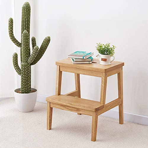 INMAN Utility Two Step Stool Oak Wood, Kids Bed Stairs Adults Grandparents Pets Ladder Anti-Slip Footrest Construction Bed Stairs for Home Office Kitchen Closet Squatting Bathroom Toddlers Toile