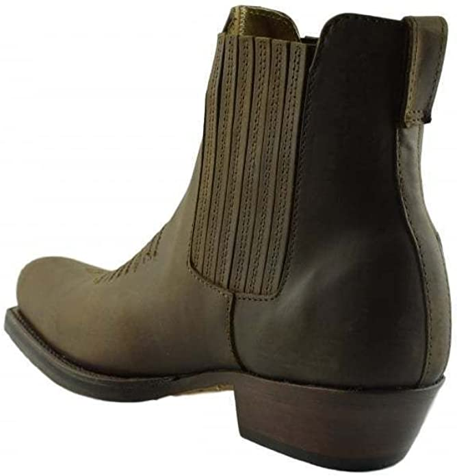 Loblan 517 Leather Tan Beige Cowboy Boots Biker Western Square Toe  Ankle Boot