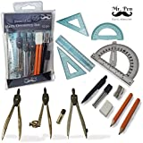 Mr. Pen- Inclusive 15 Pcs Geometry Set, Compass Set for Students- High Quality Math Set, Compass for Geometry, Protractor with Swing Arm, Divider, Set Squares, Ruler, Geometry Kit