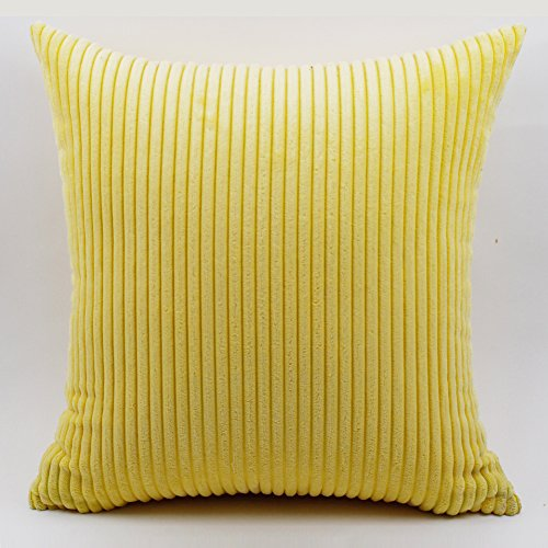 (YJBear Brilliant Solid Corduroy Cushion Cover Soft Striped Throw Pillow Case Home Decorative Cushion Protector for Sofa/Chair/Couch Yellow 14