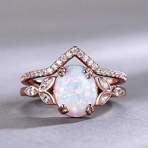 Opal Wedding Ring Set Opal Ring White Fire Opal Floral Engagment Ring Rose Gold Plated Unique Curve Wedding Band Silver Bridal Ring Set