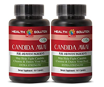 Yeast cleanse supplements - CANDIDA AWAY PLUS - Candida cleanse women - 2 Bottles 120 Capsules