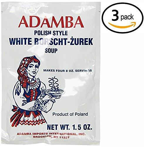 Adamba Polish Style White Borscht Zurek Soup Mix 1.5oz Bag (3-Pack)