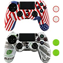 [Sponsored] LZETC(TM) Replacement Silicone Case for Sony PlayStation 4 Game- with Matching Thumb Grips,Flag