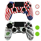 Cheap LZETC(TM) Replacement Silicone Case for Sony PlayStation 4 Game- with Matching Thumb Grips,Flag