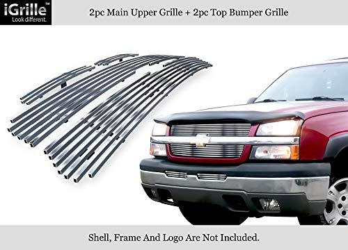 APS 304 Stainless Billet Grille Grill Combo Fits 03-05 Silverado 1500/03-04 2500/3500#N19-C57676C