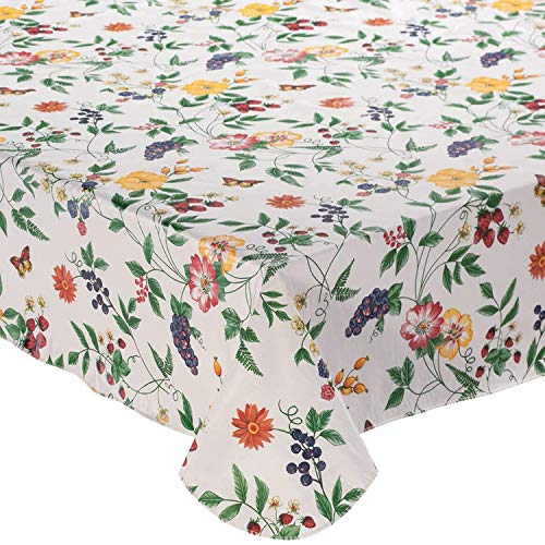 Enchanted Garden Flannel Backed Vinyl Tablecloth Indoor Outdoor 52 by 70-Inch Oblong -