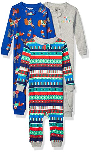 Amazon Brand - Spotted Zebra Baby 3-Pack Snug-Fit Cotton Footless Sleeper Pajamas, Festive Fairisle, 12-18 Months