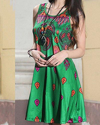 Mujeres Vestido Retro del Viento Nacional Flojo de la Ropa del Cuello Redondo Vestidos 628 Verde