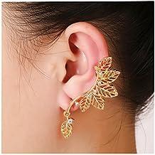 Firewings Leaf Ear Cuffs Silver Gold Women Clip Earrings