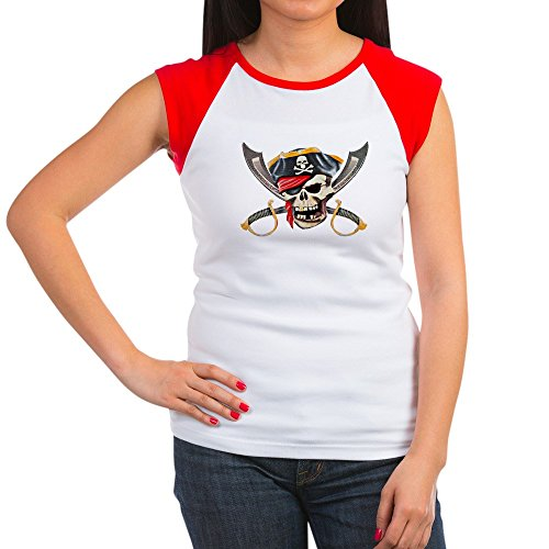 Royal Lion Women's Cap Sleeve T-Shirt Pirate Skull Eyepatch Gold Tooth - Red/White, S (4-6) - Pirate Tooth Cap With Skull