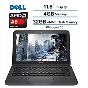 "2018 Dell Inspiron Flagship High Performance Laptop, AMD A6-9220e processor 2.5GHz, 11.6"" HD Display, 4GB DDR4 SDRAM, 32GB eMMC Flash Memory, Windows 10 (Gray) w/1-year Microsoft Office 365 Personal"