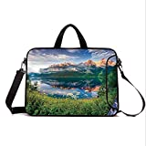 "15"" Neoprene Laptop Bag Sleeve with Handle,Adjustable Shoulder Strap & External Side Pocket,Apartment Decor,Sunny Summer Morning on The Lake Austrian Alps Crystal Mirroring Water Fairy Season Photo,"