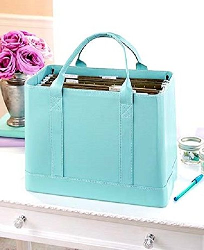 Blue Chic Portable File Folder Organizer Document Storage Bag Fashion Tote