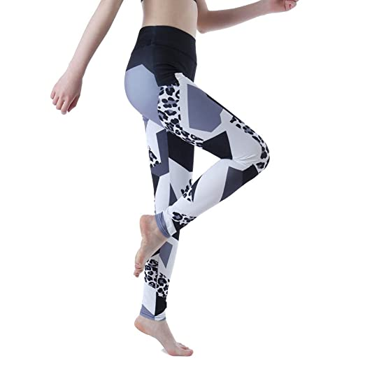 08328f5f44ddc Amazon.com: Yoga Pants Womens Compression Fitness Printed Workout Leggings  Gym Running High Waist Pants: Clothing