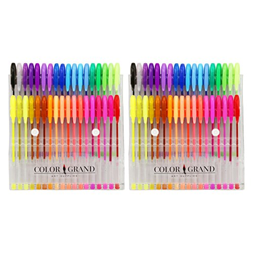 ColorGrand Gel Pen Set for Adult Coloring Books – 36 Gel Pens and Glitter Gel Pens (2-Pack (72 pens))