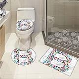 Letter B Widen Colorful Silhouette of B with Do Re Mi Symbols Art School Alphabet Design Words 3 Piece Extended bath mat set Multicolor