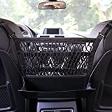 #9: AMEIQ 3-Layer Car Mesh Organizer with Leather Box, Seat Back Net Bag, Barrier of Backseat Pet Kids, Cargo Tissue Purse Holder, Driver Storage Netting Pouch. (3 optional styles)