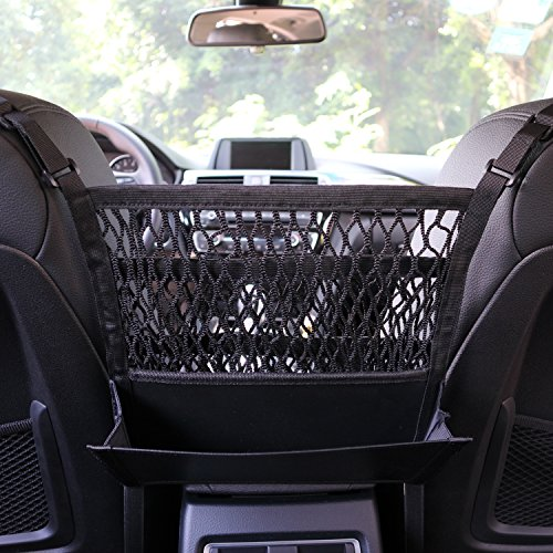 AMEIQ 3-Layer Car Mesh Organizer with Leather Box, Seat Back Net Bag, Barrier of Backseat Pet Kids, Cargo Tissue Purse Holder, Driver Storage Netting Pouch. (3 optional styles) Purses Net